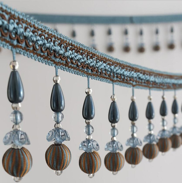 12Meter Flower Bead Pearl Tassel Pendant Hanging Lace Trim Ribbon For Window Curtains Wedding Party Decorate Sewing DIY