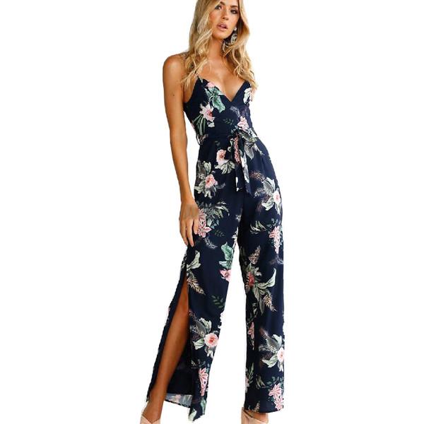jumpsuits for women 2018 Europe Summer Jumpsuit Sexy Print Lace Slit Sleeveless Off Shoulder romper vestidos de festa OYM0722