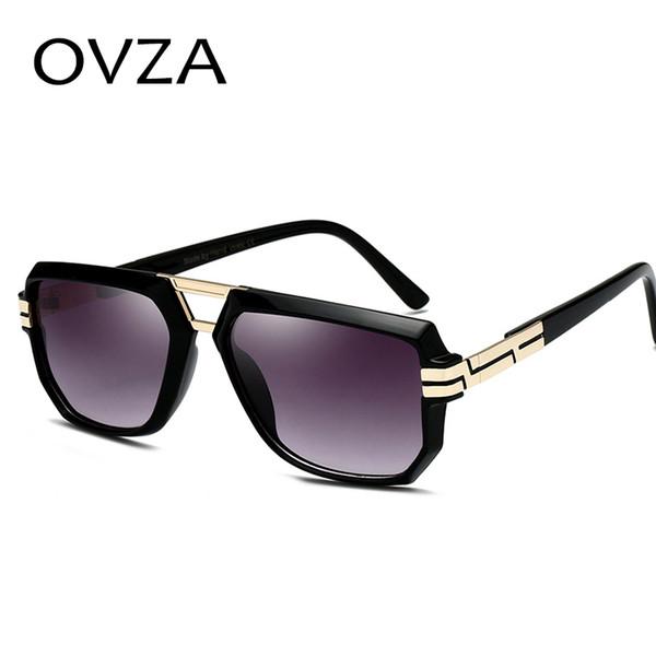 OVZA Mode Transparent Frame Lunettes De Soleil Pour Hommes Rouge Lunettes De Soleil Femmes De Haute Qualité Anti-UV S6015