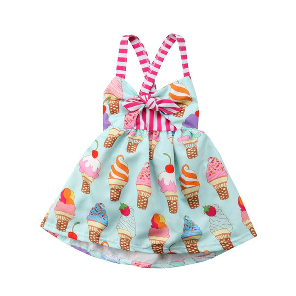 Toddler Kids Baby Girls Strap Backless Ice Dress Sundress Summer Clothes
