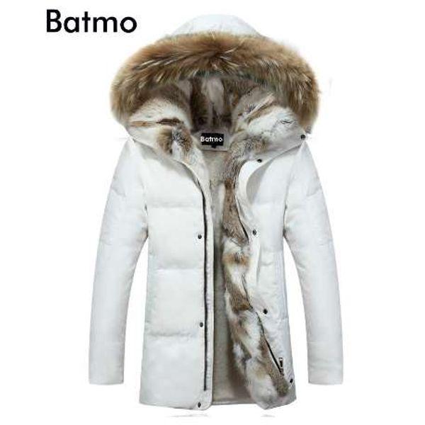 Batmo Winter hohe Qualität Ente Daunenjacke Männer Mantel Parkas dicke Liner männlich warme Kleidung Kaninchen Pelzkragen, PLUS-Größe