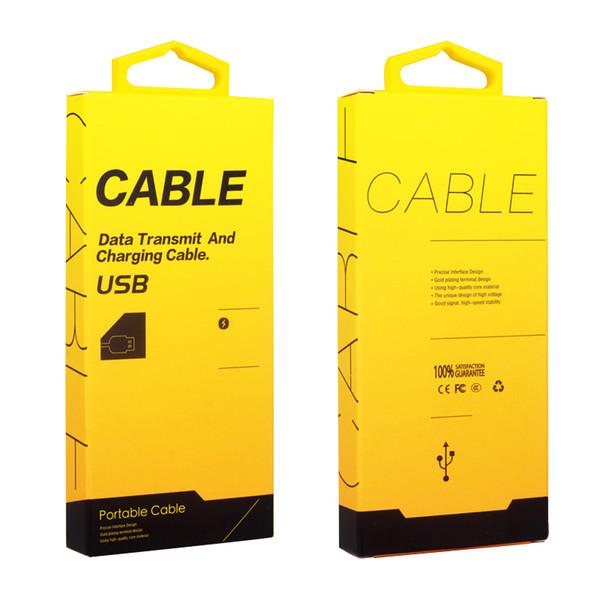 200 pezzi all'ingrosso di vendita al dettaglio di telefonia mobile cavo USB scatola di imballaggio in cartone scatola di imballaggio gancio gancio Data Line Packaging Box