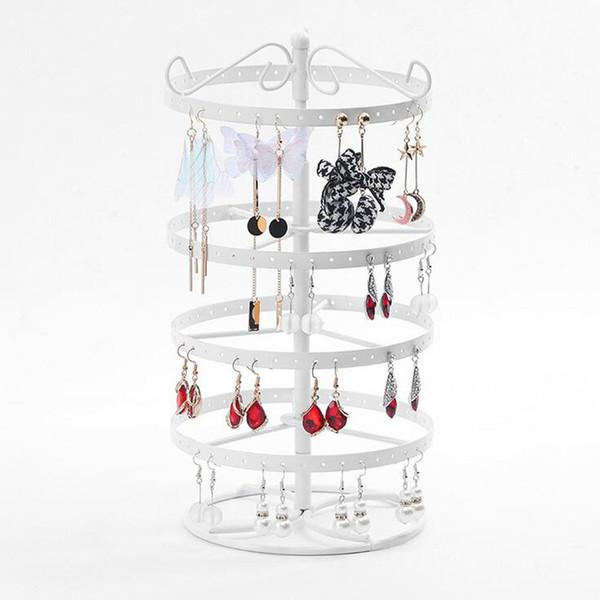 New Metal Earrings Organizer Rotating Earring Holder Jewelry Display Necklace Display Rack Earring Storage Tree 3 Colors Options