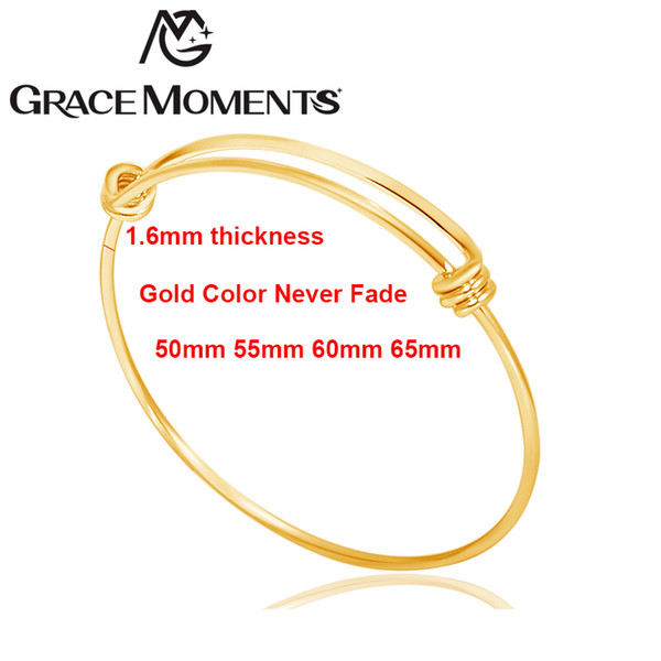 10pcs 1.6mm Thick TOP Quality Wire Bangle 50mm 55mm 60mm 65mm Never Fade Titanium Steel Women Wrist Cuff Bracelet Children Size