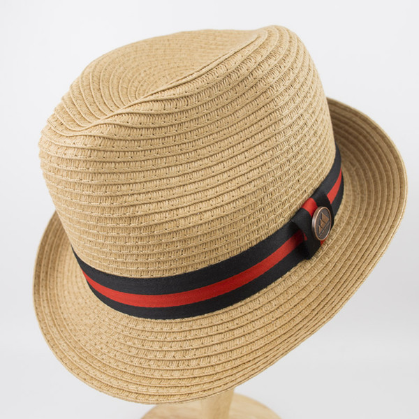 EPU-MH1835 Rollup Packable Man and woman straw Braid short brim fedora Hat Ladies Street Fashion High Quality Trilby Jazz Hat casquette