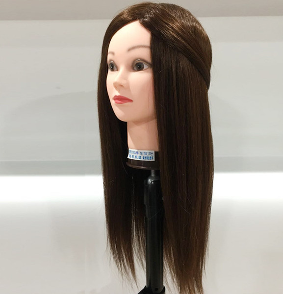 80% human hair Training Head can be curly Professional Mannequin hairdressing dolls head Female Mannequin Hairdressing Styling
