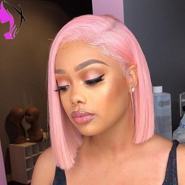 De calidad superior peluca corta recta peluca de simulación de pelucas de cabello humano rosa colorbrazilian lace front peluca sintética resistente al calor para mujeres negras