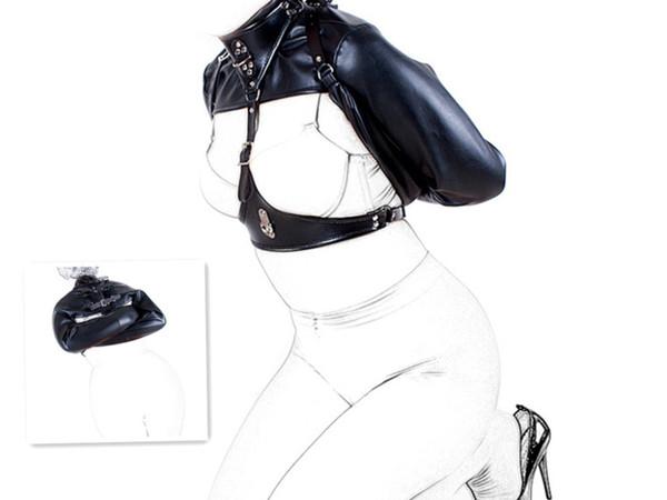 Posizionamento erotico Bondage BDSM Adulti Giocattoli del sesso, pelle morbida Bondage Top di forza, Fetish Restraint Straight Jacket Restranit