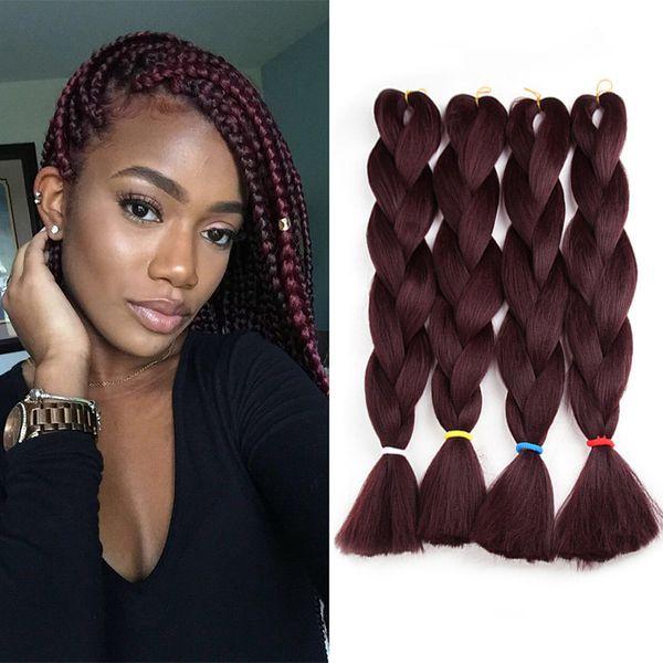 best selling 80g 24 Inch Jumbo Braiding Hair Kanekalon Synthetic Braids Hair Extensions From Japenese High Temperature Fiber Twist Braid #99J Dark Red