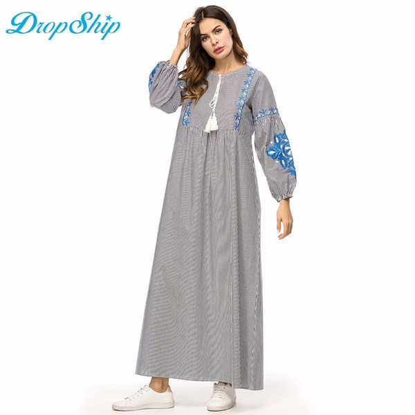 43cb97f5ba9 Dropship Stripes Embroidery Women Long Dress High Waist A Line Maxi Dresses  Vintage Ethnic Embroidered Dress Fall Autumn 2018