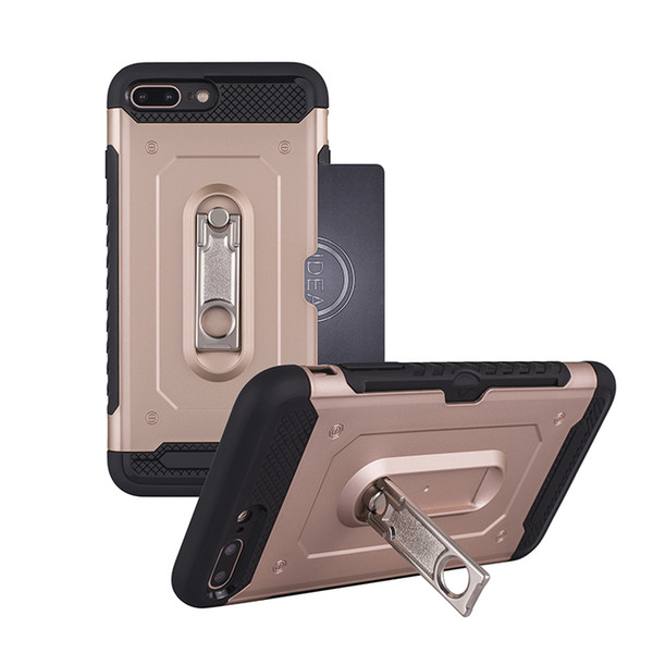 Card Slot Armor Hybrid Case for iphone 7 8 X 7 plus 8 plus 6s TPU+PC Dual Layer Shockproof Armor Kickstand Case