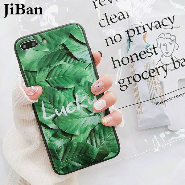 JiBan For iphone X Luxury Tempered Glass Phone Cases Fashion Summer Letter Plant Banana Leaf Back Cover For iphone 6s 7 8 Plus