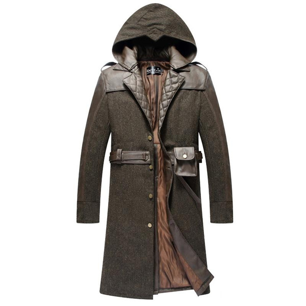 Malidaike Game Assassin Creed Owl Coat Cosplay Clothes Long Thick Mens Winter Warm Jacket Costume