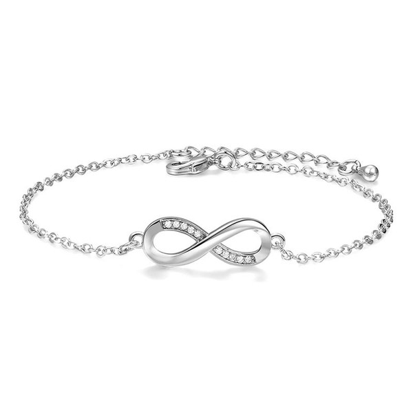 2018 Hot Fashion Simple 8 Characters Silver plated Chain Infinity Bracelet High-end Luxury Crystal Bracelet For Women sa022