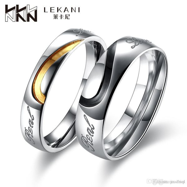 Hot Sale Trend Fashion Love Heart Couples Rings Titanium Stainless Steel Valentine's Ring High Quality Mix Cheap Wholesale