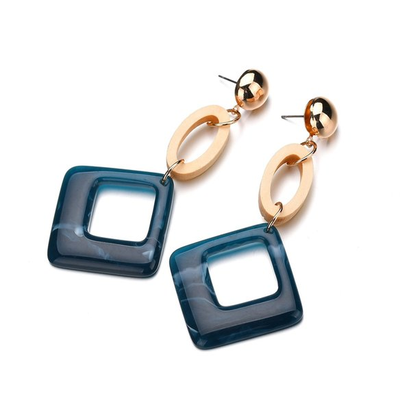 Fashion Acetic Acid Resin Handmade Tortoiseshell Geometry Round Square Stud Earrings for Women Wedding Party Jewelry
