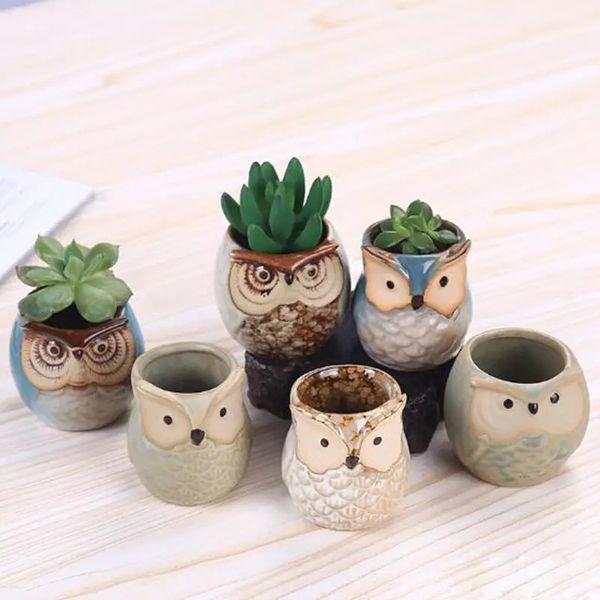 Cartoon Owl-shaped Flower Pot for Succulents Fleshy Plants Flowerpot Ceramic crafts Small Mini Home/Garden/Office Decoration