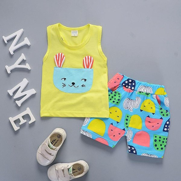 Summer Baby Fashion Clothing Sets Children Boys Girls Cotton Vest Shorts 2Pcs/Sets Kids Tracksuits Toddler Cartoon Cat Clothes