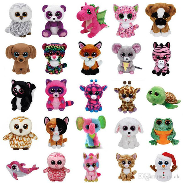 18CM Ty Beanie Boos Plush toys Stuffed Animals dolls juguete Big Eyes Owl Unicorn Cat Elephant Penguin Leopard Foxy Dog Rabbit Giraffe Panda