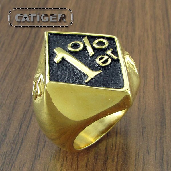Free Shipping ! Punk Gold Plated Black Oil color 1% ER 316L Stainless Steel Ring Rock Letter One Percent Men's Biker Club Rings Jewelry