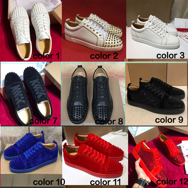 Brand Low Cut Suede Spikes Red Bottom Designer shoes Flats shoes For Men and Women Leather Party Designer Sneakers