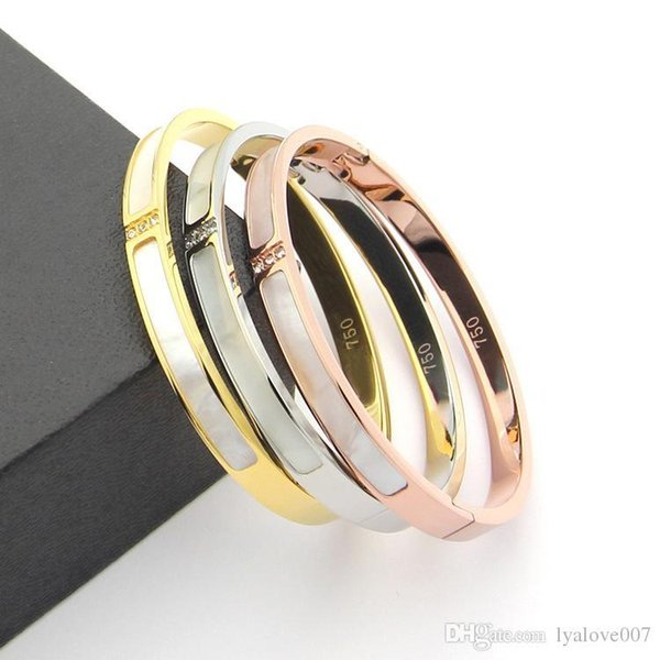 316L Titanium steel Love bangles Bracelets For Women Men three stones bangle Rose Gold white shell cuff Bracelet