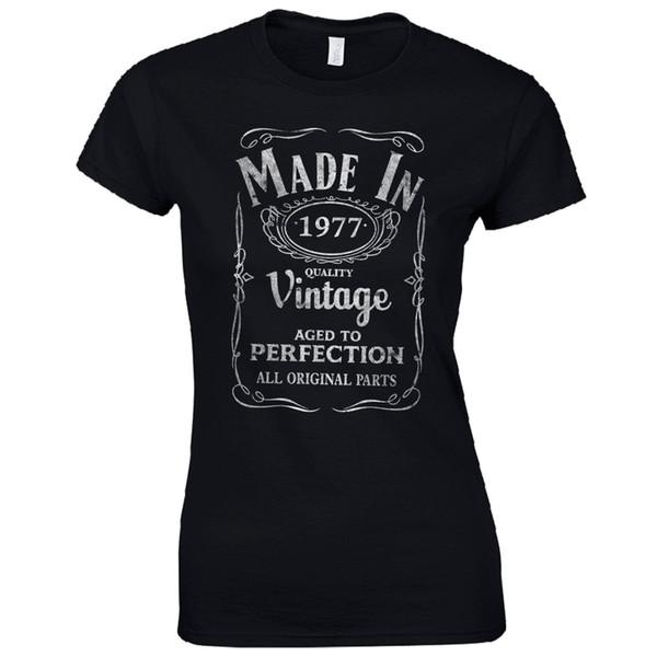 Tee-shirt femme fabriqué en 1977 dames t-shirt ajusté - cadeau d'anniversaire de naissance 40e anniversaire cadeau drôle