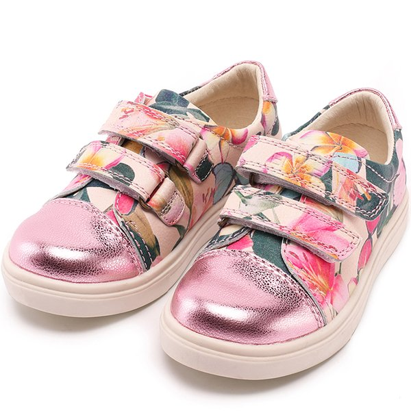 Princepard genuine leather Fashion Sneaker Casual Print flower Platform Shoes for girls women Size 26-36 kids shoes for girls