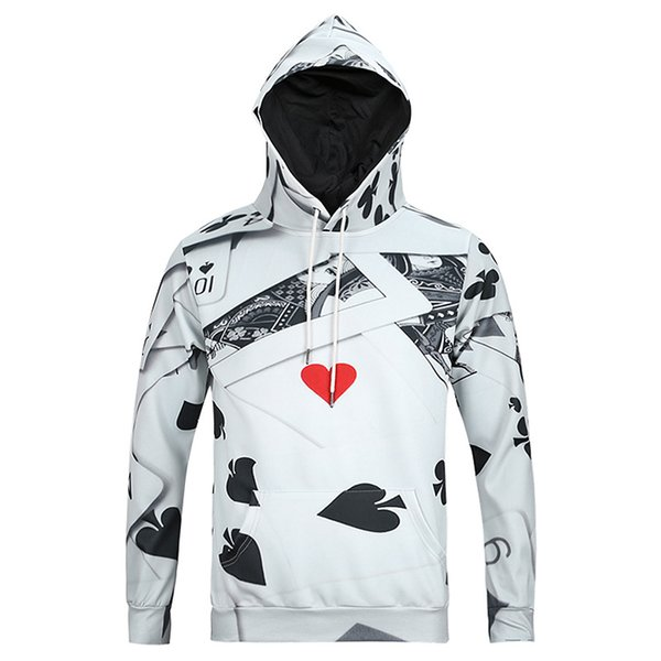 Hot Designer Hommes hoodies Poker 3D Impression Vêtements Pour Hommes Mode À Manches Longues Sweatshirts Sportwear livraison gratuite