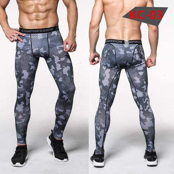 New mens camouflage compression tights Leggings Running sports Gym Fitness male trousers exercise bodybuilding Large size pants W-1