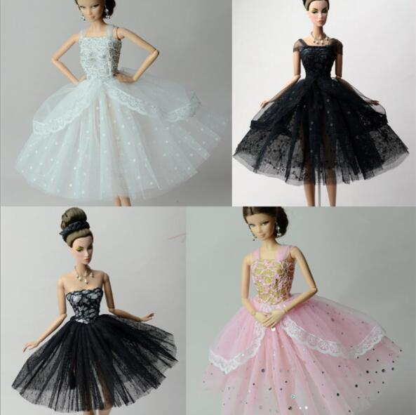 Doll Dresses Elegant Lady Black White Pink Little Dress Evening Dress Clothes For 1/6 BJD Doll Gift Doll Accessories