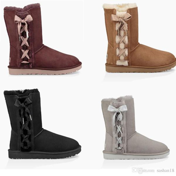 2018 kış Yeni WGG Avustralya Klasik kar Botları Ucuz bayan kışlık botlar moda indirim Ayak Bileği Artı pamuk Çizmeler ayakkabı Püskül Bowti