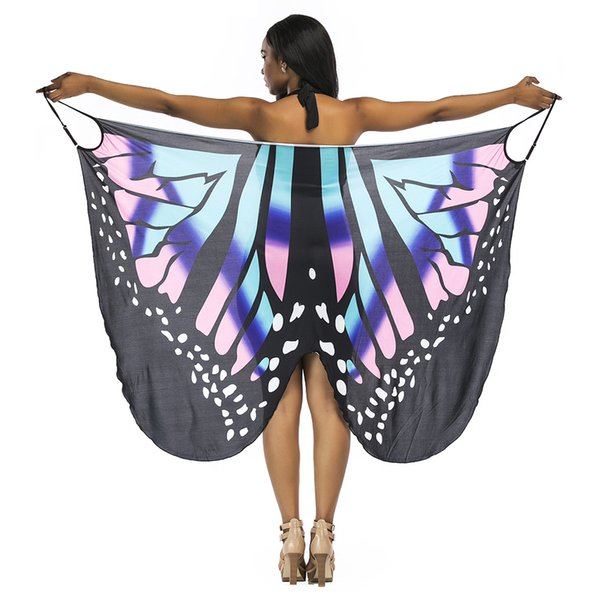 2019 Pareo Summer Fashion Blouse Tops Butterfly Wing Cape Bikini Cover Swimwear Women Robe De Plage Beach Bathing Suit Cover Up