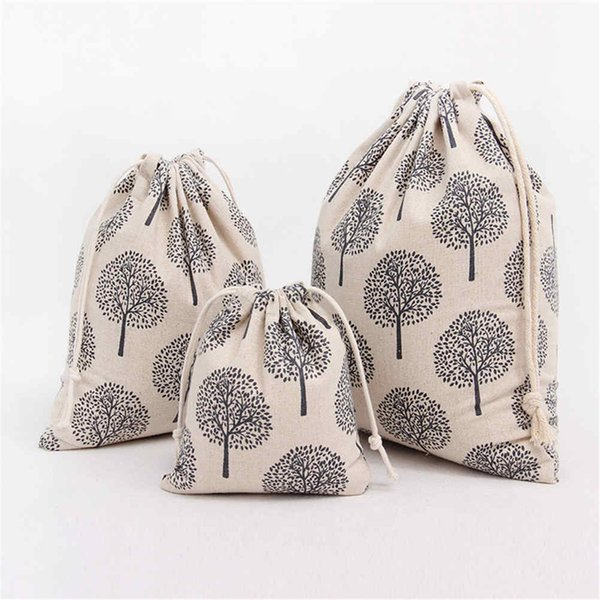 2 Size Women Canvas/ Coon Backpack Bag Shoe Travel Pouch Portable Drawstring Storage Bags