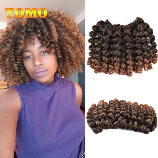 TOMO Jamaican Bounce Twist Hair For Black Woman Crochet Braids Sprial Wand Curl Braiding Hair 8 inch 20 Strands/pack Crochet Hair Extensions