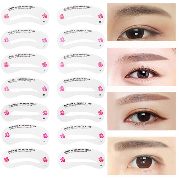 240PC Eyebrow Stencil Shaping Tool Set Eye Brow Models Make Up Tool Template DIY Drawing Guide Styling Card Kit