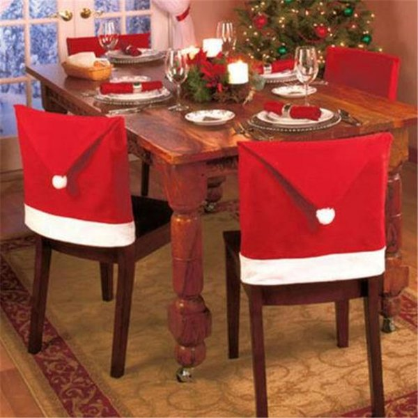 Christmas Chair Covers Santa Clause Red Hat for Dinner Decor Home Decorations Ornaments Supplies Dinner Table Party Decorations