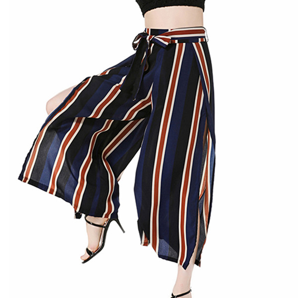 Elegant Women Loose Bow Tie Striped Bell Bottom Pants 2018 Wide Leg Pants Sexy Side Slit Drawstring Trousers Hight Waist