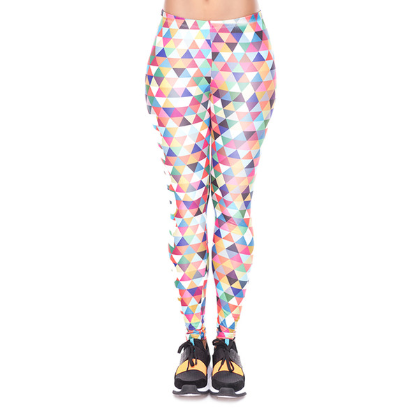 Women Leggings Work Out Triangle Multi 3D Print Lady Skinny Stretchy Casual Yoga Wear Pants Gym Fitness Girl Capris Trousers (YX34260)