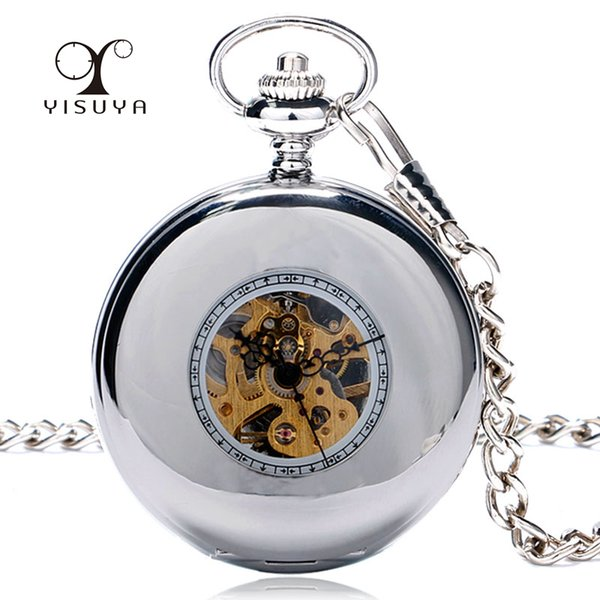 Silver Mechanical Pocket Watch Smooth Hollow Roman Number Fob Watch With Pocket Chain Skeleton Hand-wind Fashion Clock Xmas Gift