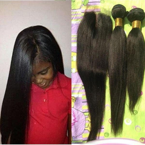 Capelli Vergini brasiliani Yaki 3pcs lotto Parte centrale 4x4 chiusura in pizzo con 2 pz Bundles Non trattata Yaki Hair Extention