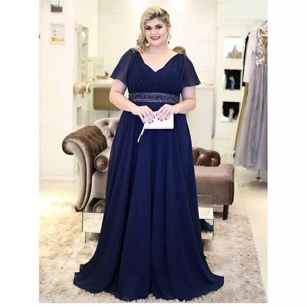 Navy Blue Plus Size Mother Of The Bride Dresses Evening Wear A Line Chiffon  V Neck Short Sleeve Long Special Occasion Party Dress Plus Size Mother Of  ...