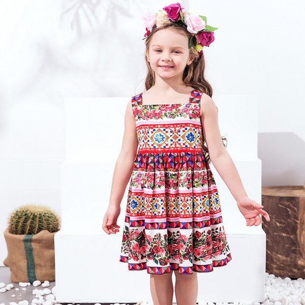 Girls Dress Kids Summer Clothing Brand Robe Fille Enfant Flowers Printed Baby Girls Costume Princess Dress Kids Dresses