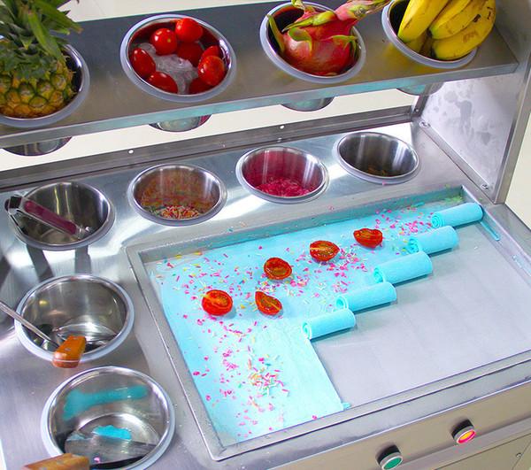 BEIJAMEI Square Pan Commerciale Thailandia fritto macchina per il gelato 110 v 220 v fritto macchina per il gelato con 10 barili