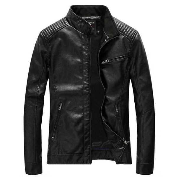 new winter men's To keep warm jacket coat classic leather motorcycle PU leather jacket leisure clothing Stand collar