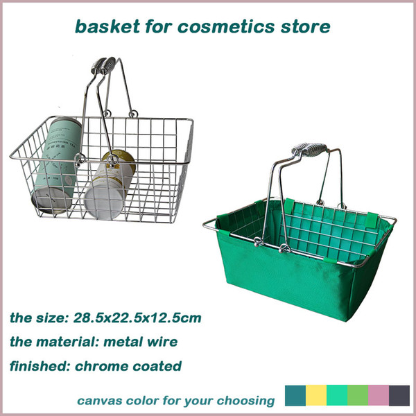 top popular hanging wire mesh storage basket with oxford bag small fruit bread wire basket with handles wire chrome coated basket 2021