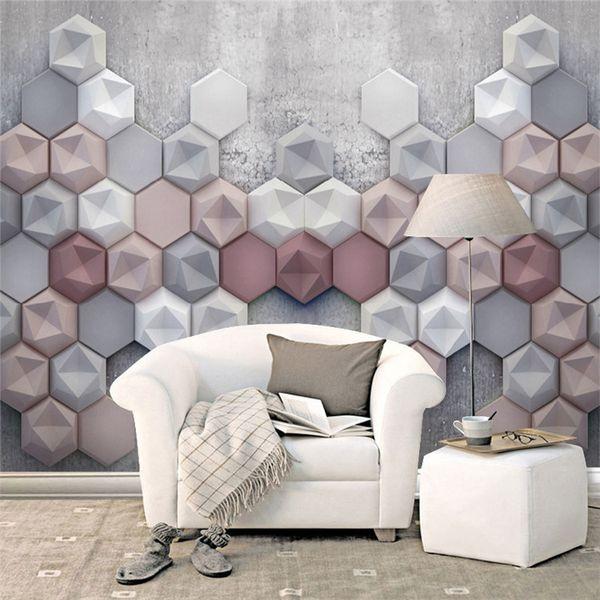 Living Room 3d Wallpaper Geometry Abstract Murals Modern Sofa Tv Background  Wall Decor Wall Papers Photo Mural Flower Wallpapers Flowers Wallpapers ...