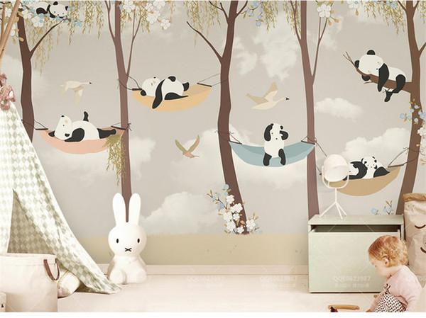 best selling Tuya art wallpaper for kid room Cartoon panda's play garden for child's room mural wallpapers baby room wall decor matt finish