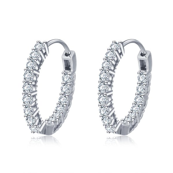 EA101678 High Polished trending hot products geometry circle earring stud jewelry 925 sterling silver post earring