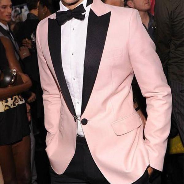 Trajes de hombres formales de color rosa Solapa de pico negro Esmoquin de dos piezas para novios de boda por encargo para la fiesta de graduación de la noche (chaqueta + pantalones)
